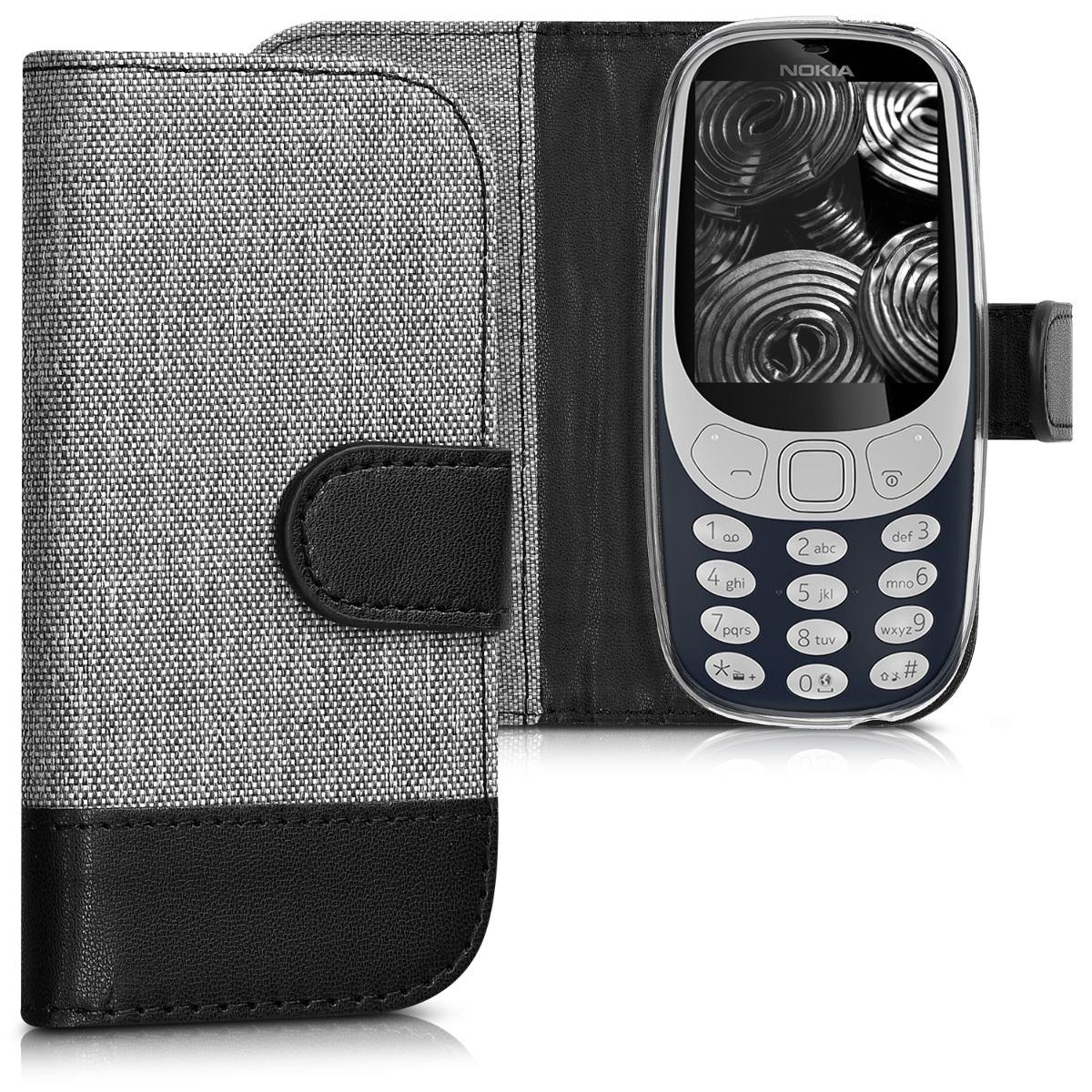 KW Θήκη Flip Nokia 3310 (2017) - Grey / Black (42348.01)
