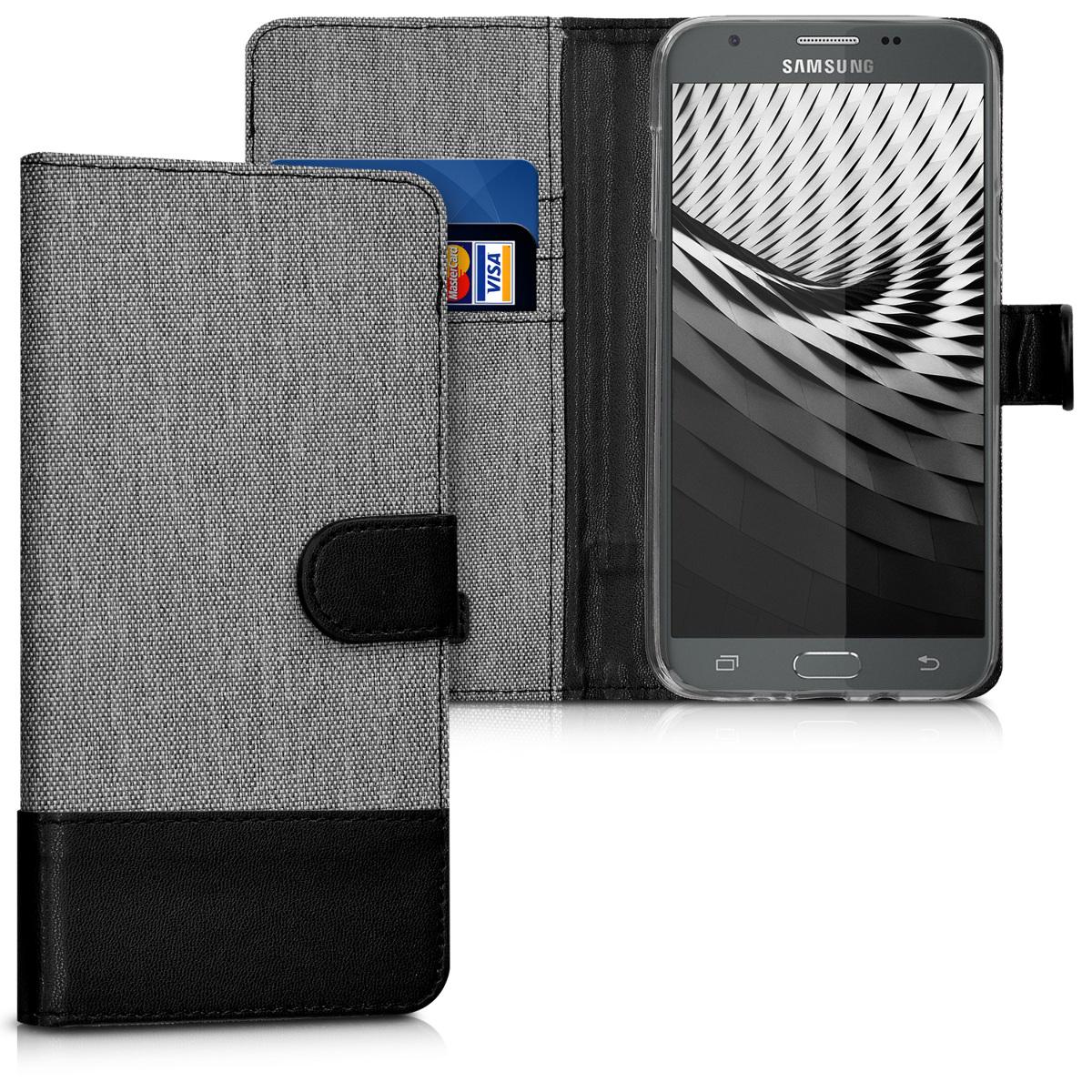KW Θήκη πορτοφόλι Samsung Galaxy J7 2017 - Grey / Black (42458.22)