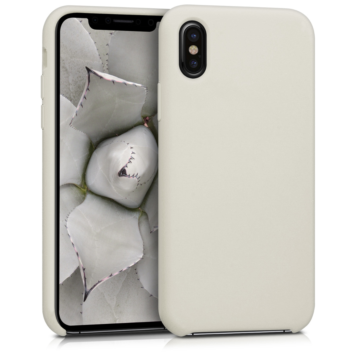 KW Θήκη Σιλικόνης Apple iPhone X - Soft Flexible Rubber Protective Cover - Beige (42495.11)