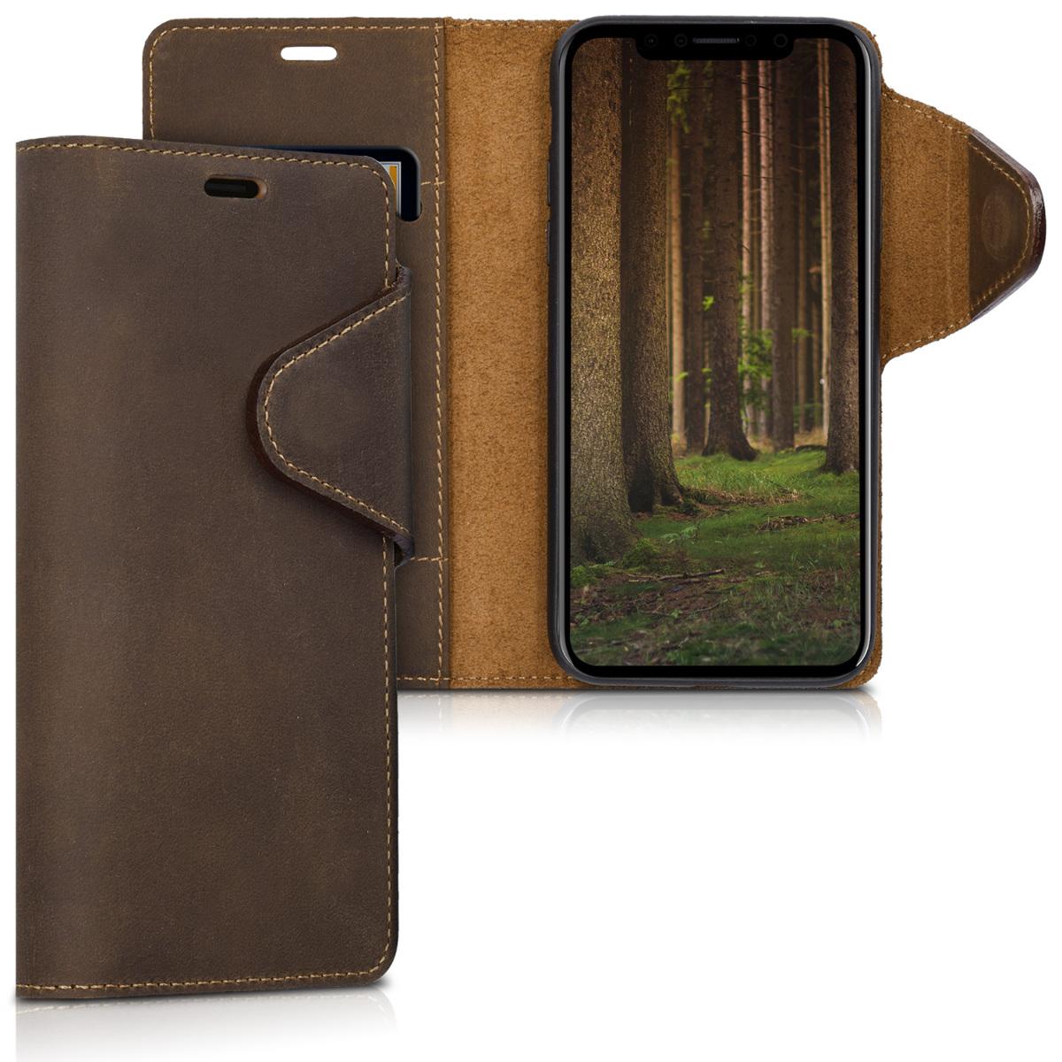 Kalibri Δερμάτινη Suede Θήκη - Πορτοφόλι iPhone X/XS -  Brown (42515.05)