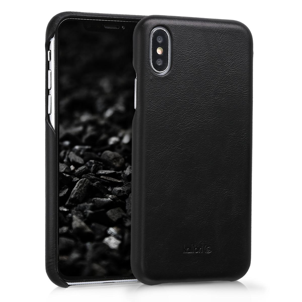 Kalibri Σκληρή Δερμάτινη Θήκη iPhone X - Black (42516.01)