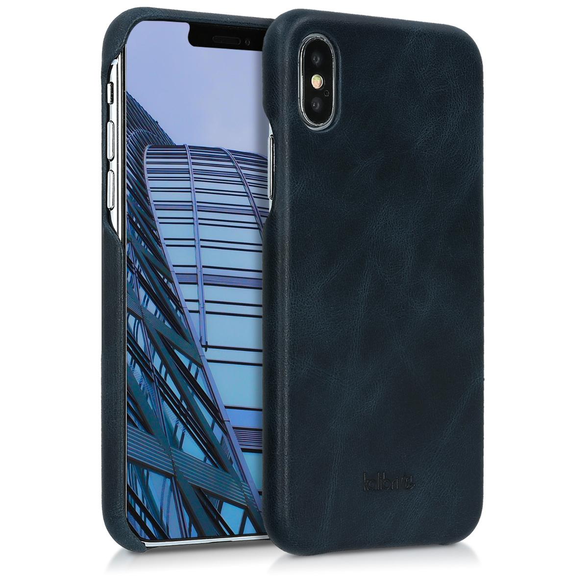 Kalibri Σκληρή Δερμάτινη Θήκη iPhone X - Dark Blue (42516.17)