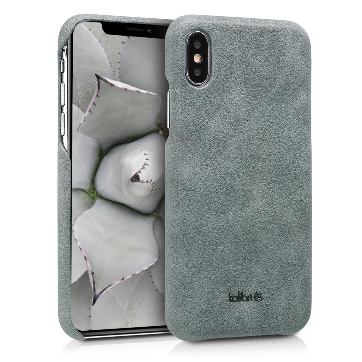 Kalibri Σκληρή Δερμάτινη Θήκη iPhone X - Γκρι (42516.19)