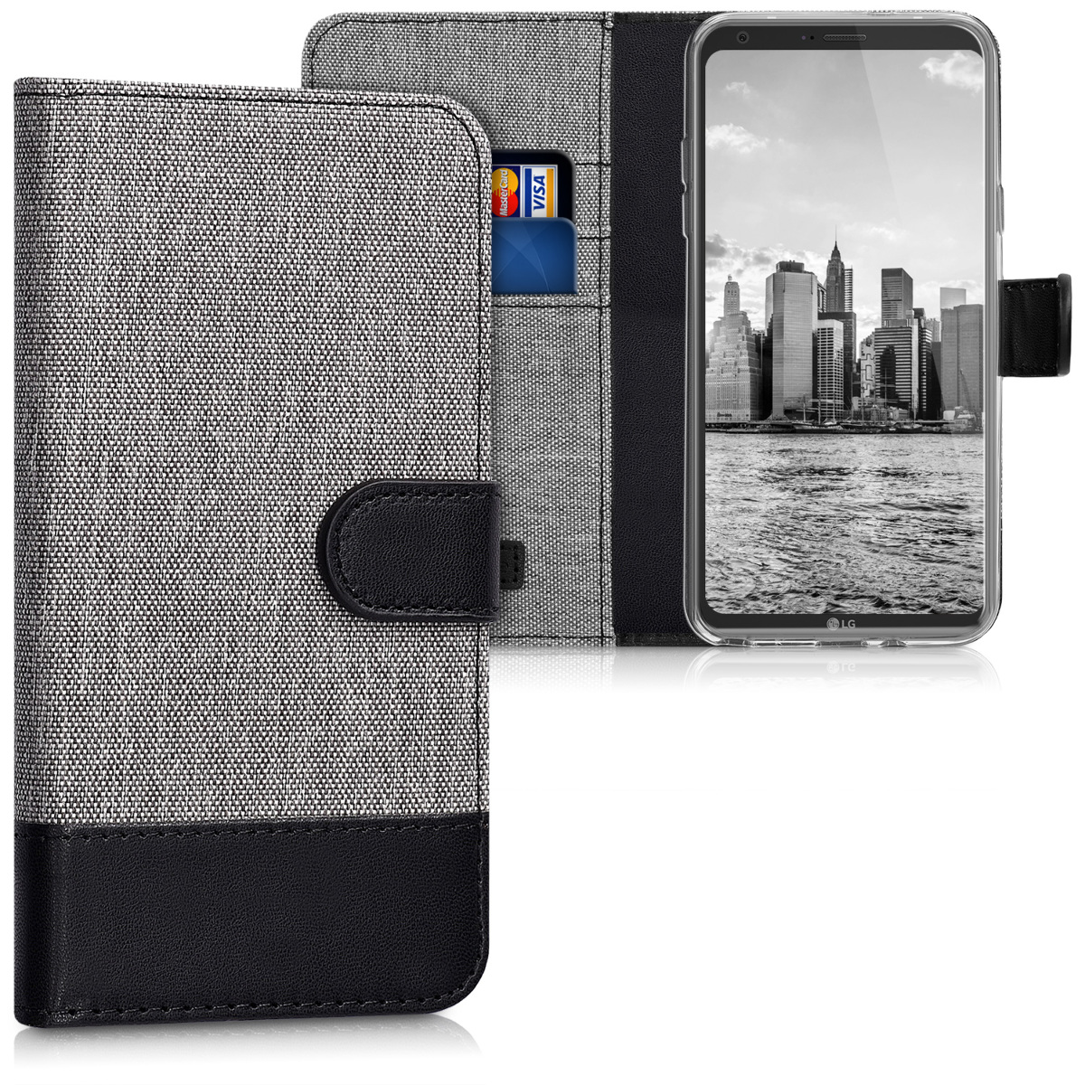 KW Θήκη Πορτοφόλι LG Q6 / Q6+ - Grey / Black (42606.22)