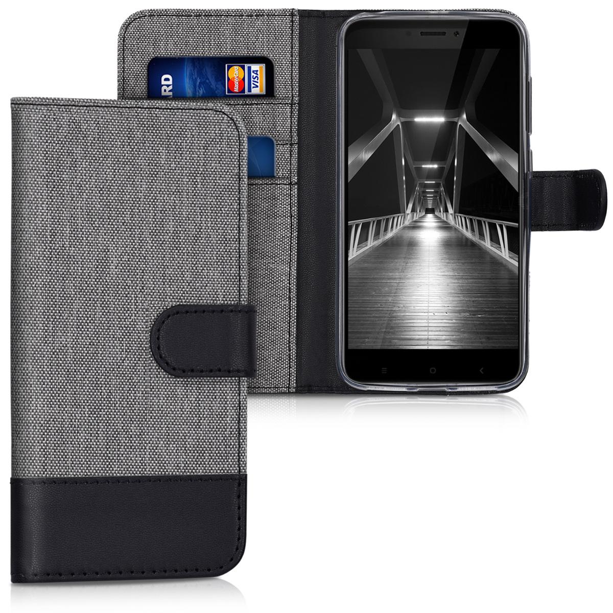 KW Θήκη - Πορτοφόλι Xiaomi Redmi 4X - Grey / Black (42617.22)