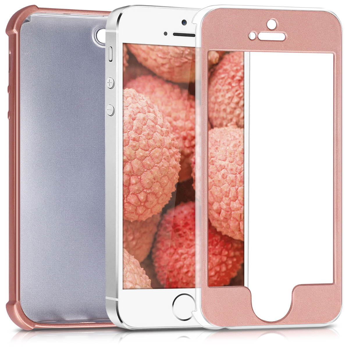 KW Θήκη Σιλικόνης Full Body iPhone SE / 5S / 5 - Metallic Rose Gold - (42648.31)