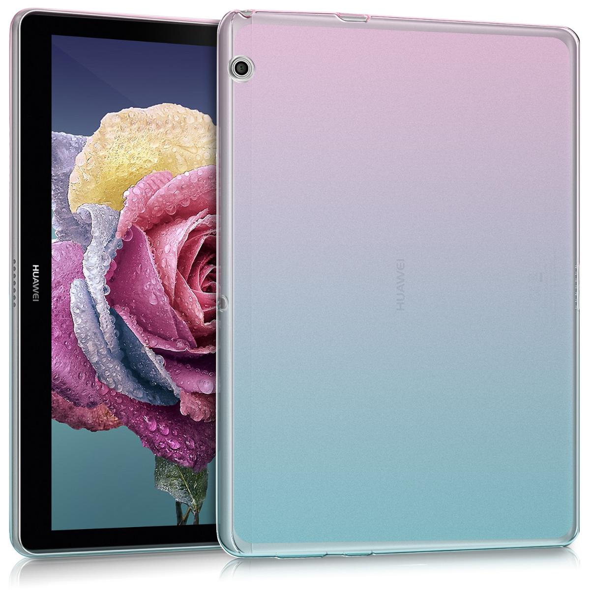 KW Ημιδιάφανη Θήκη Σιλικόνης Huawei MediaPad T3 10 - Soft Flexible Shock Absorbent - Dark Pink / Blue / Transparent (42649.01)