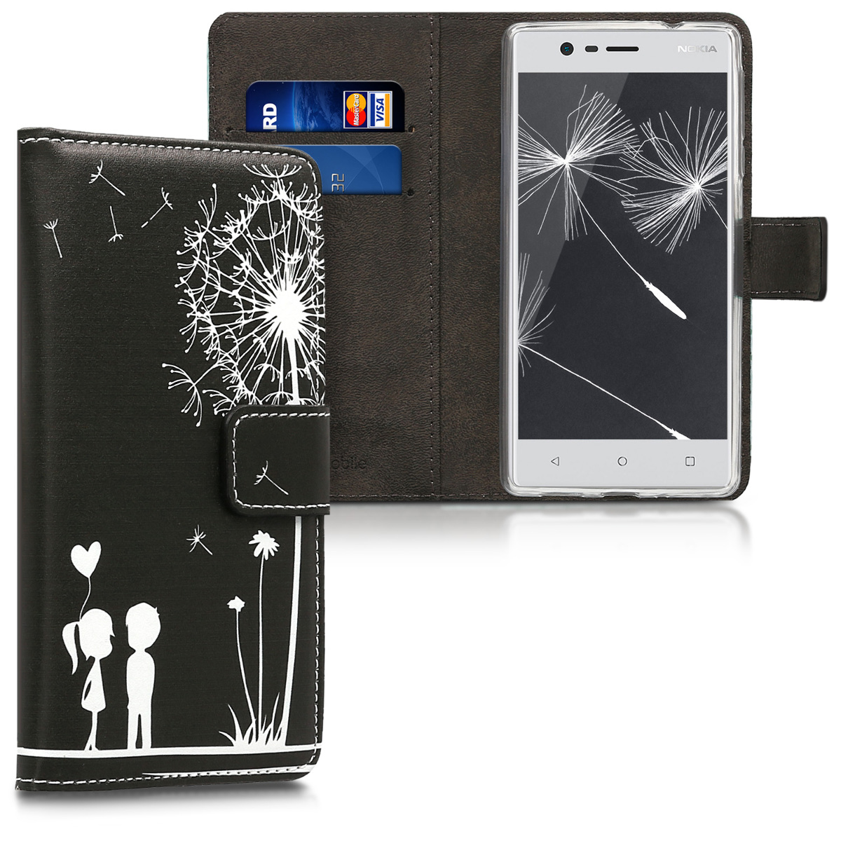 KW Θήκη Πορτοφόλι Nokia 3 - Συνθετικό δέρμα - White / Black (42663.02)
