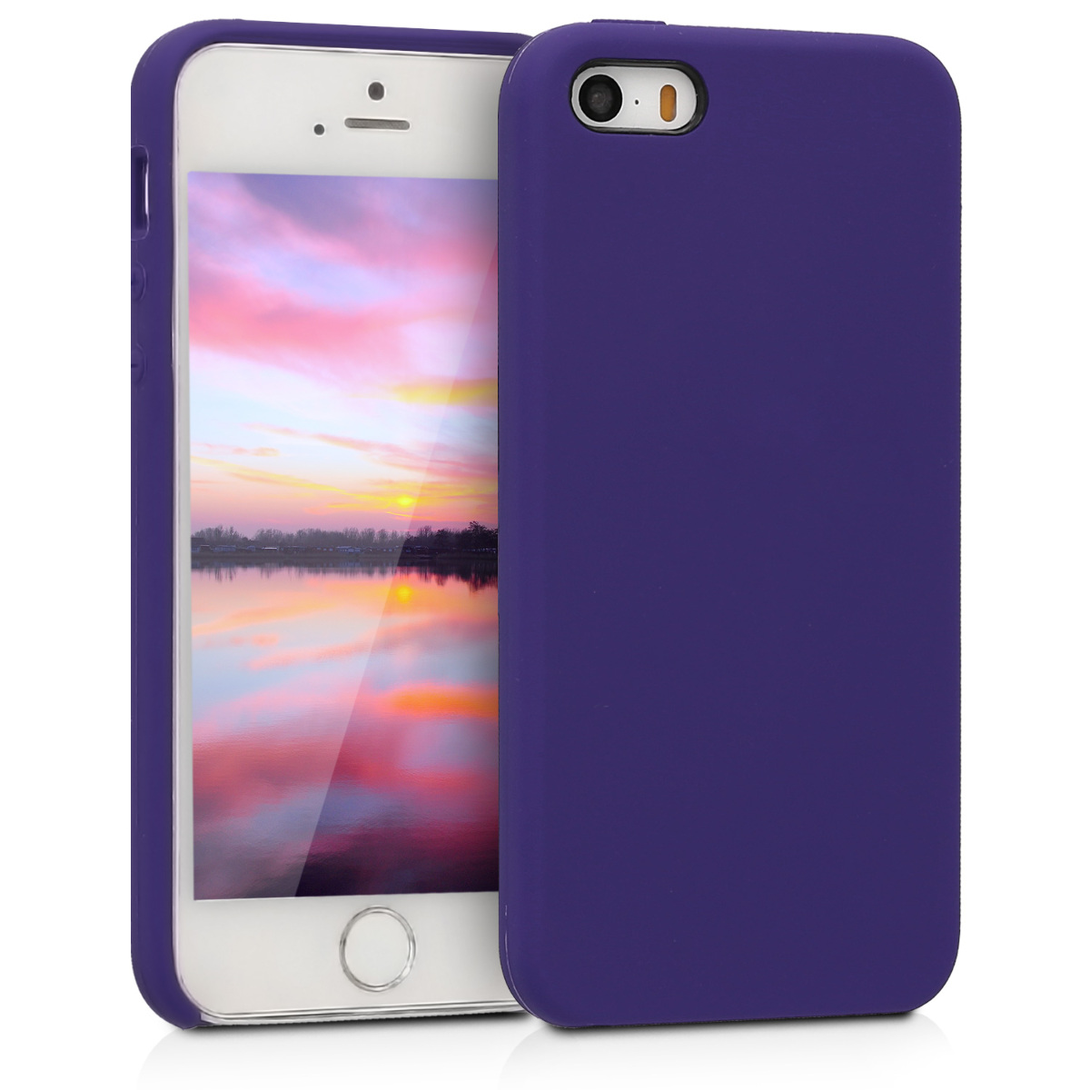 KW Θήκη Σιλικόνης iPhone SE / 5 / 5S - Soft Flexible Rubber Protective Cover - Violet - (42766.38)