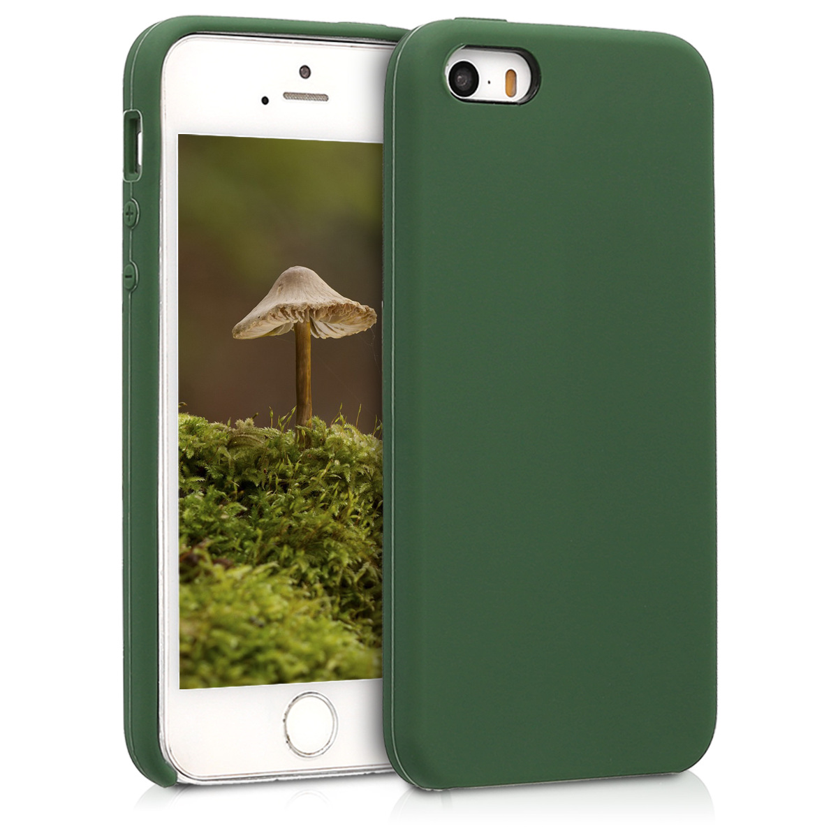 KW Θήκη Σιλικόνης iPhone SE / 5 / 5S - Soft Flexible Rubber Protective Cover - Dark Green - (42766.80)
