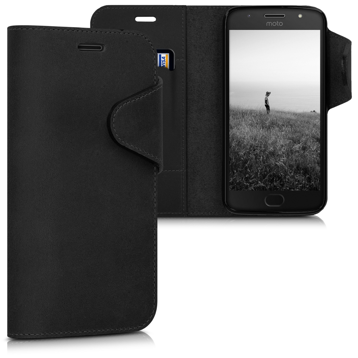 Kalibri Δερμάτινη Suede Θήκη - Πορτοφόλι Motorola Moto G5S - Black (42817.01)