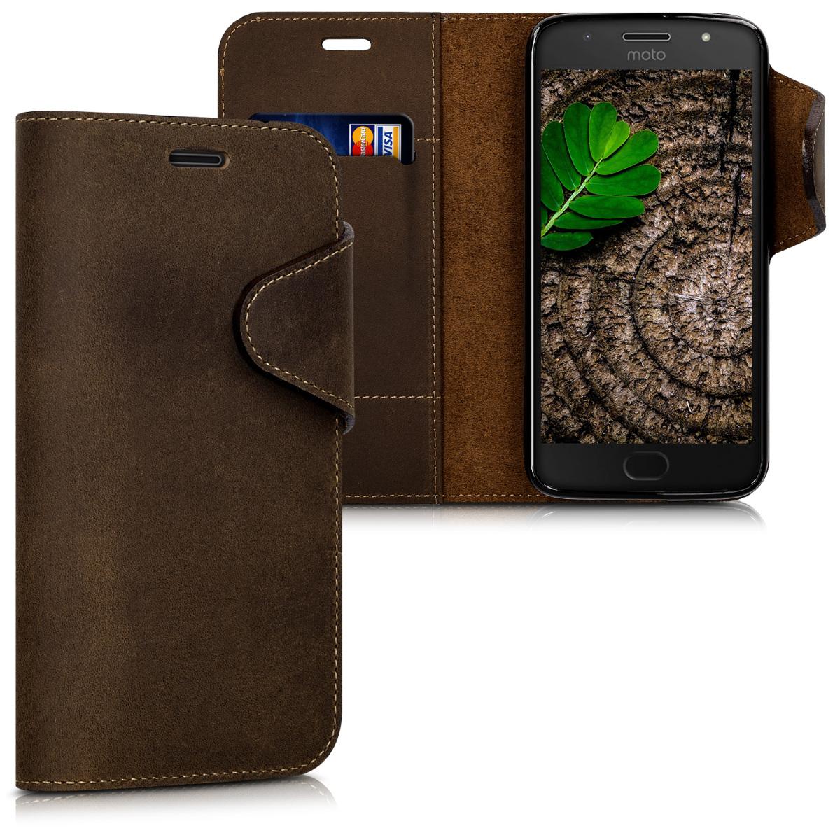 Kalibri Δερμάτινη Suede Θήκη - Πορτοφόλι Motorola Moto G5S - Brown (42817.05)