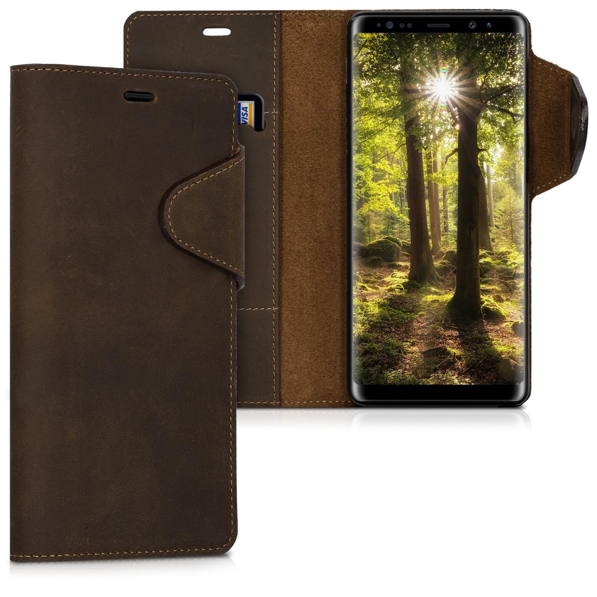 Kalibri Δερμάτινη Suede Θήκη - Πορτοφόλι Samsung Galaxy Note 8 - Brown (42844.05)