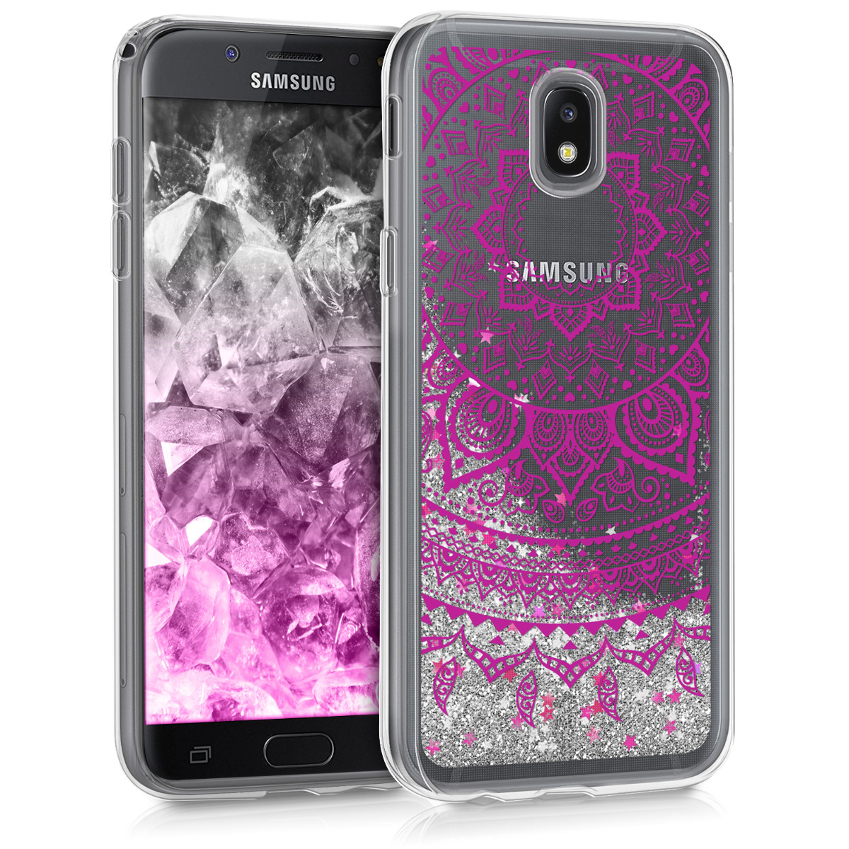 KW Θήκη Σιλικόνης Samsung Galaxy J5 2017 - Dark Pink / Silver / Transparent (42857.01)