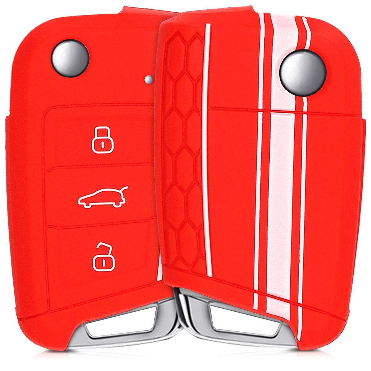 KW Θήκη Κλειδιού VW Golf 7 MK7 - Σιλικόνη - 3 Κουμπιά - White / Red (42888.18)