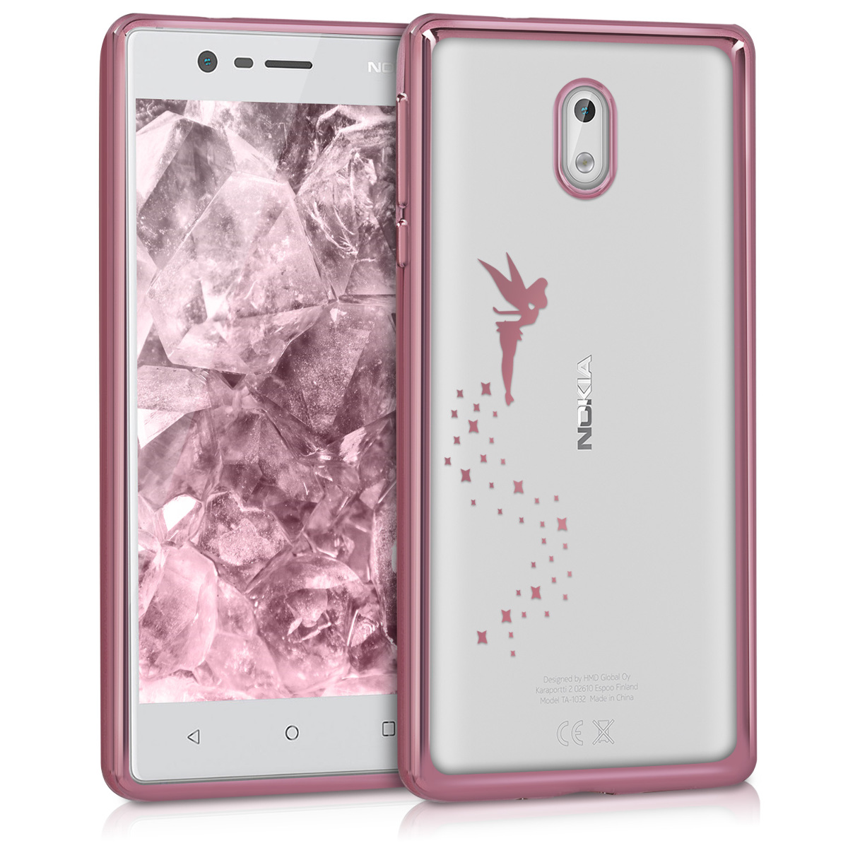 KW Θήκη Σιλικόνης Nokia 3 - Soft Flexible Shock Absorbent- Rose Gold / Transparent (42895.02)