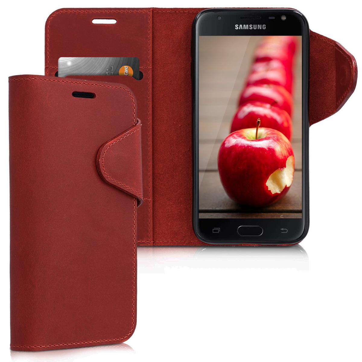 Kalibri Δερμάτινη Suede Θήκη - Πορτοφόλι Samsung Galaxy J3 2017 - Κόκκινο (42896.20)