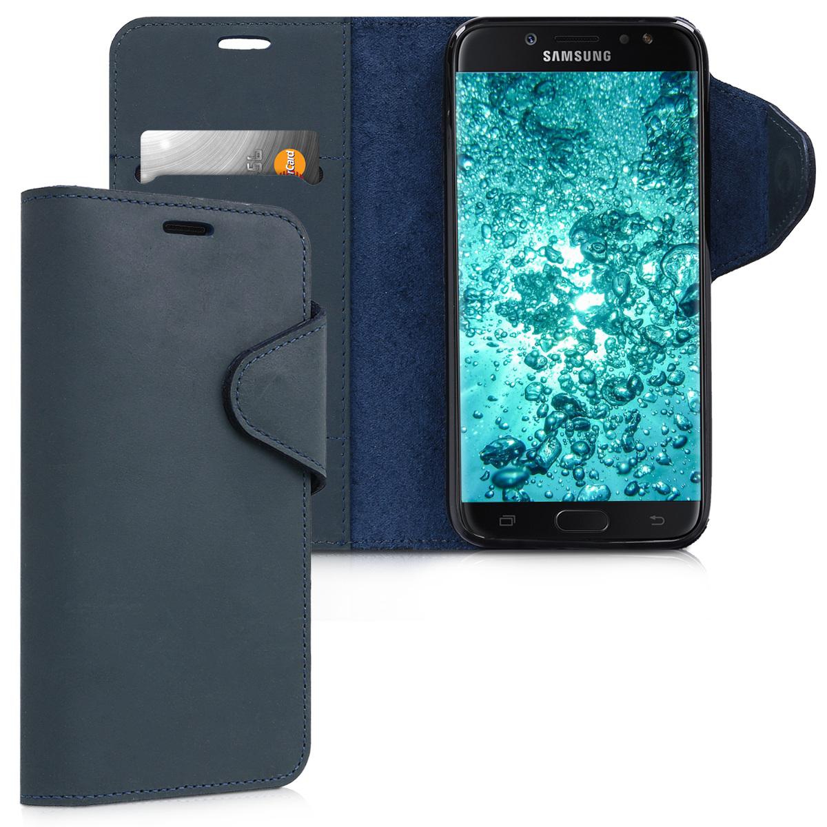 Kalibri Δερμάτινη Suede Θήκη - Πορτοφόλι  Samsung Galaxy J7 (2017) -  Dark Blue (42897.17)