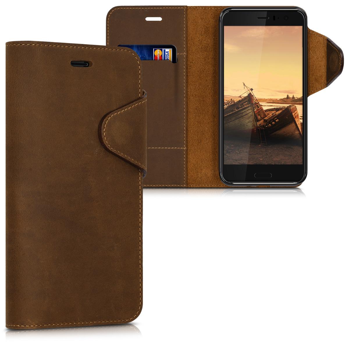 Kalibri Δερμάτινη Suede Θήκη - Πορτοφόλι HTC U11 - Brown (42899.05)