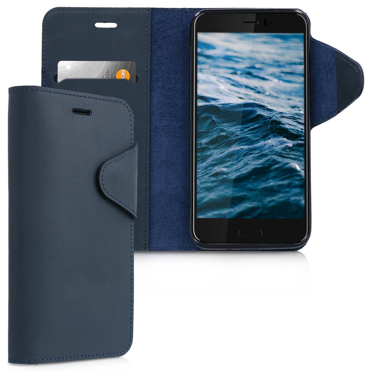 Kalibri Δερμάτινη Θήκη - Πορτοφόλι HTC U11 - Dark Blue (42899.17)