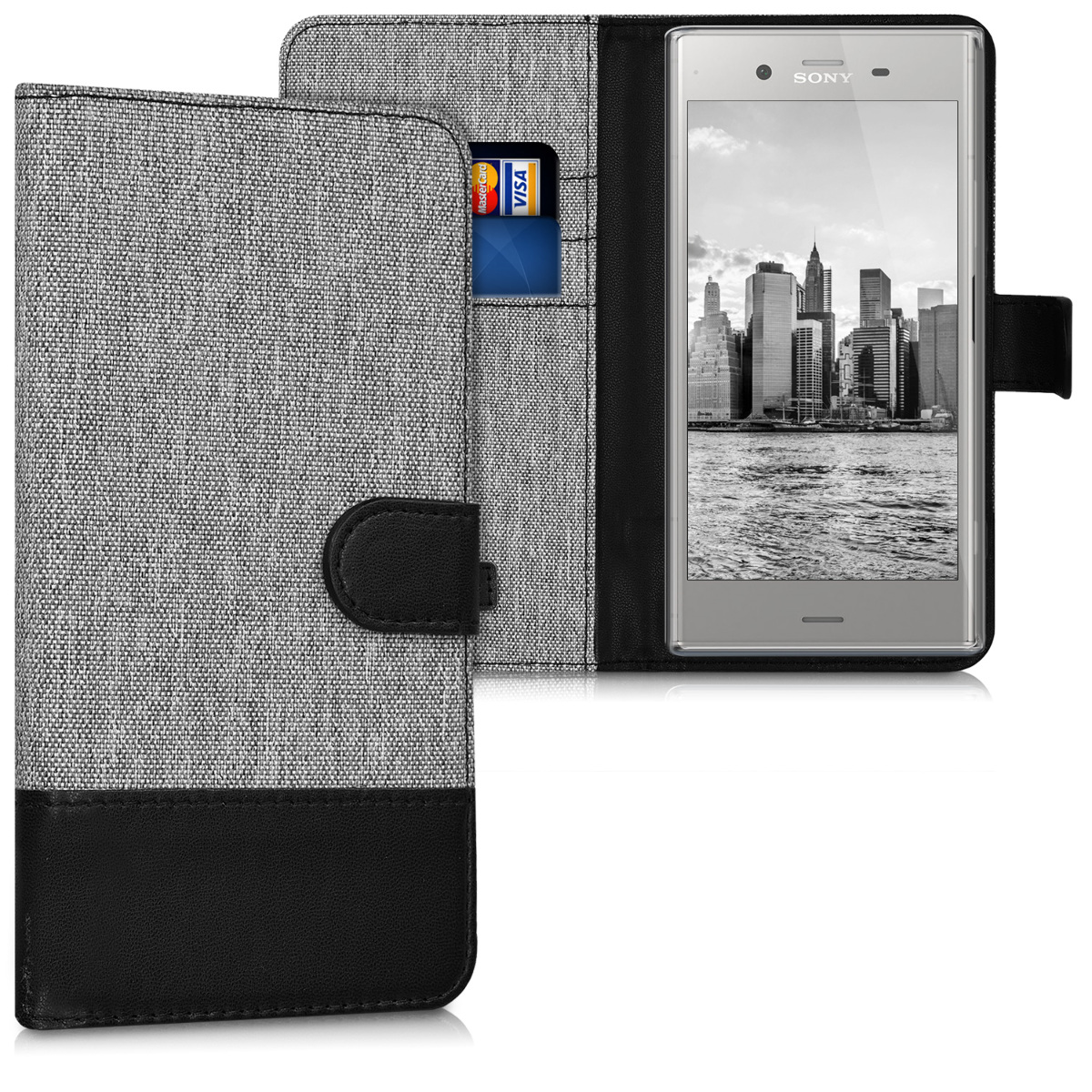 KW Θήκη Πορτοφόλι Sony Xperia XZ1 - Συνθετικό δέρμα - Grey / Black (42922.22)