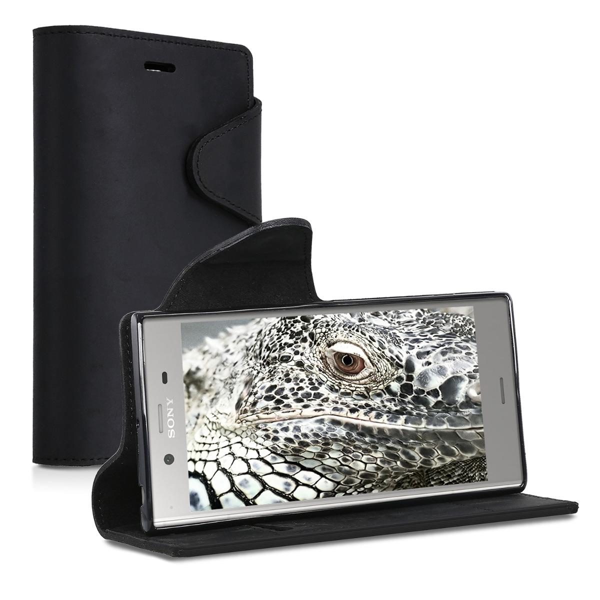 Kalibri Δερμάτινη Suede Θήκη - Πορτοφόλι Sony Xperia XZ1 - Black (42926.01)