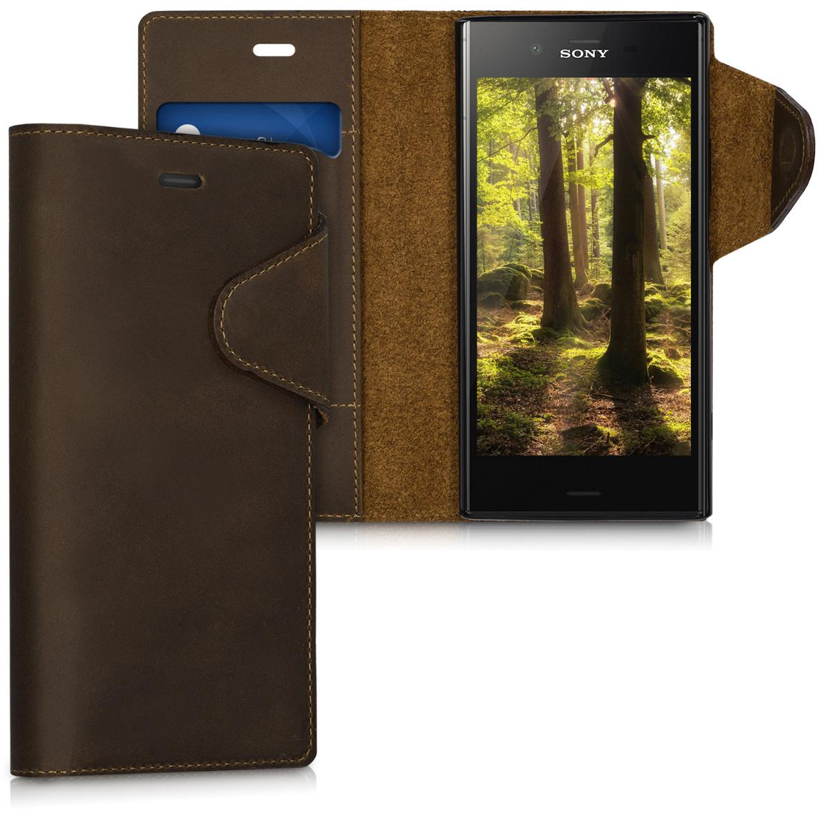 Kalibri Δερμάτινη Suede Θήκη - Πορτοφόλι Sony Xperia XZ1 - Καφέ (42926.05)