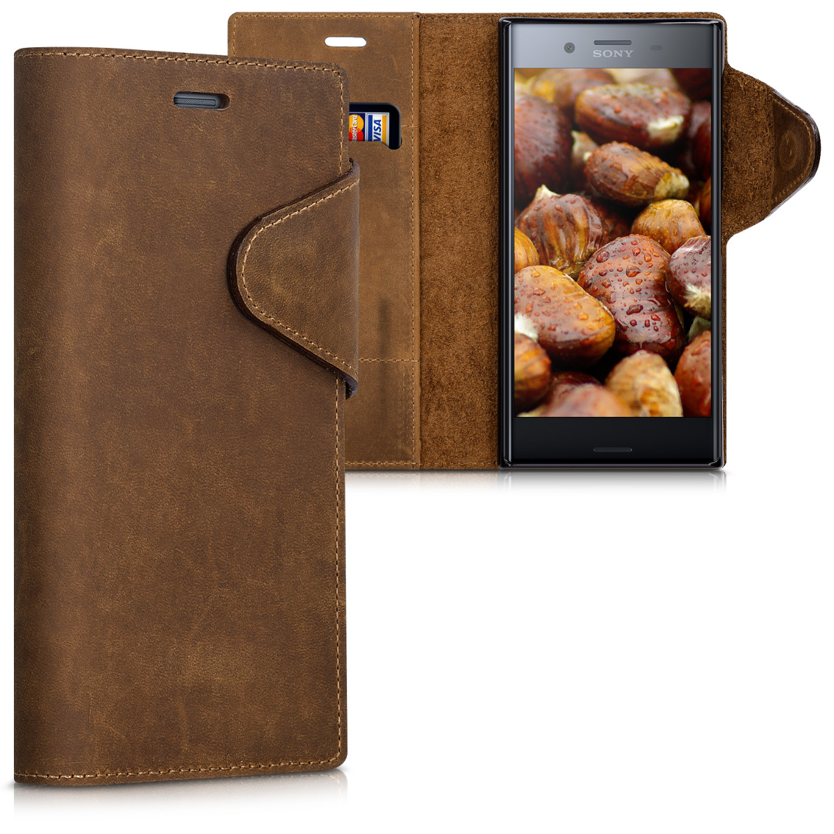Kalibri Δερμάτινη Suede Θήκη - Πορτοφόλι Sony Xperia XZ Premium -  Brown (42942.05)