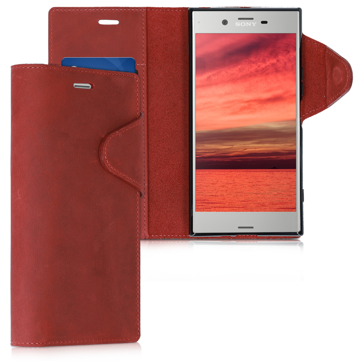 Kalibri Δερμάτινη Suede Θήκη - Πορτοφόλι Sony Xperia XZ Premium - Dark Red (42942.20)
