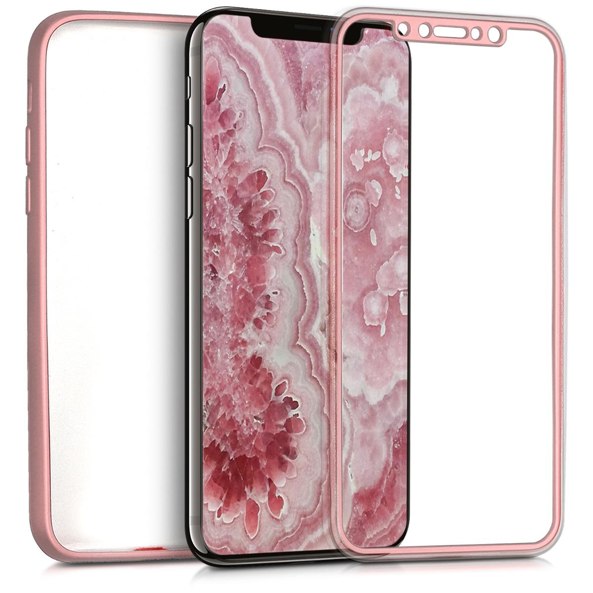 KW Θήκη Σιλικόνης Full Body iPhone X - Μεταλλικό ροζ χαλκινο (42999.31)