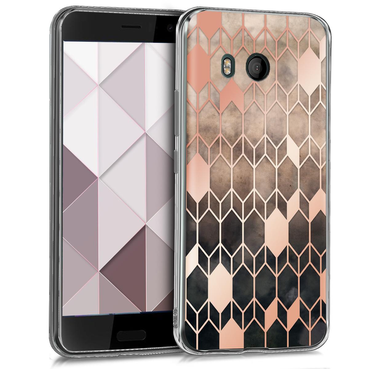KW Θήκη Σιλικόνης(TPU) HTC U11 - Σκούρο ροζ/Μαύρο/ Γεωμετρικό σχέδιο (43086.03)