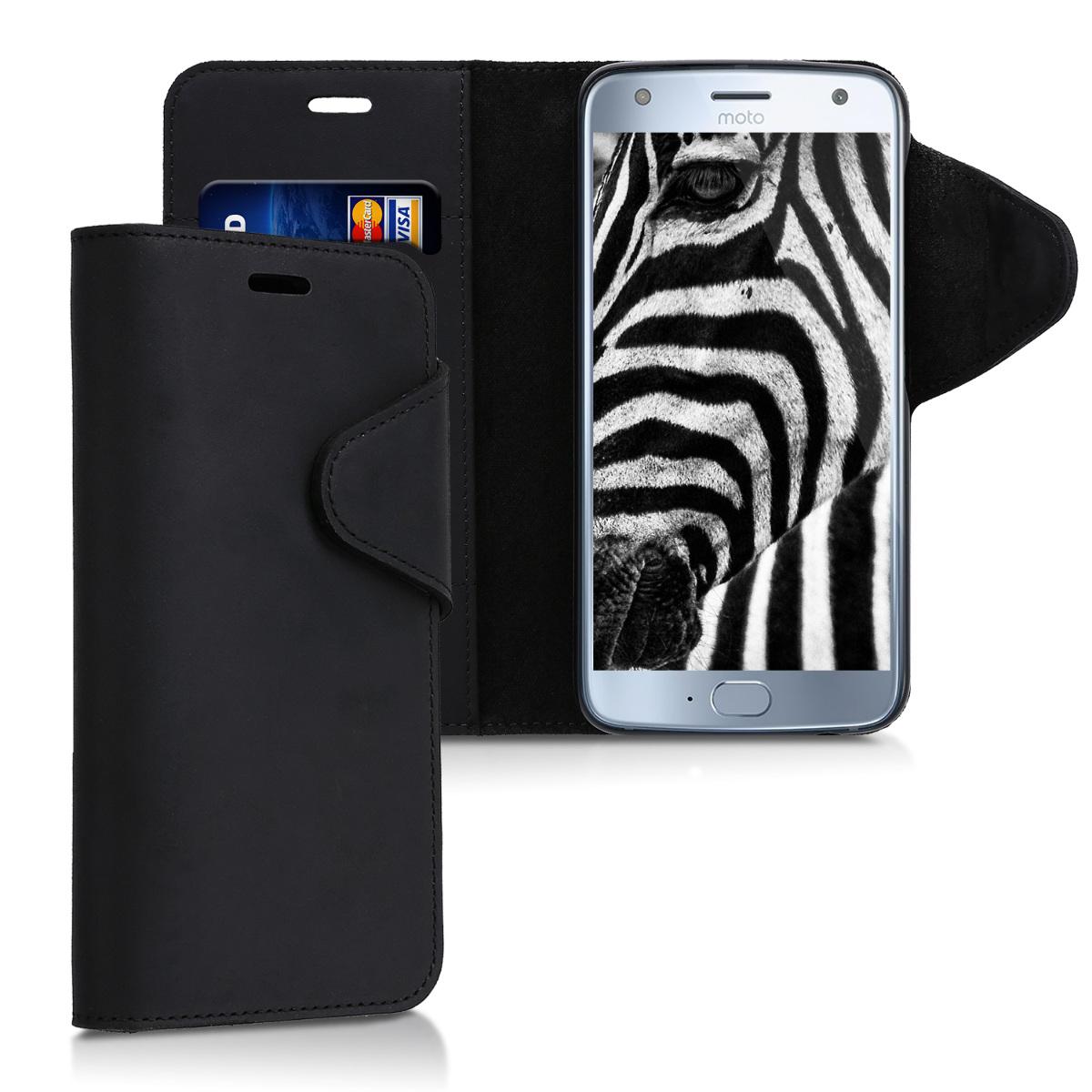 Kalibri Δερμάτινη Suede Θήκη - Πορτοφόλι Motorola Moto X4 - Μαύρο (43098.01)