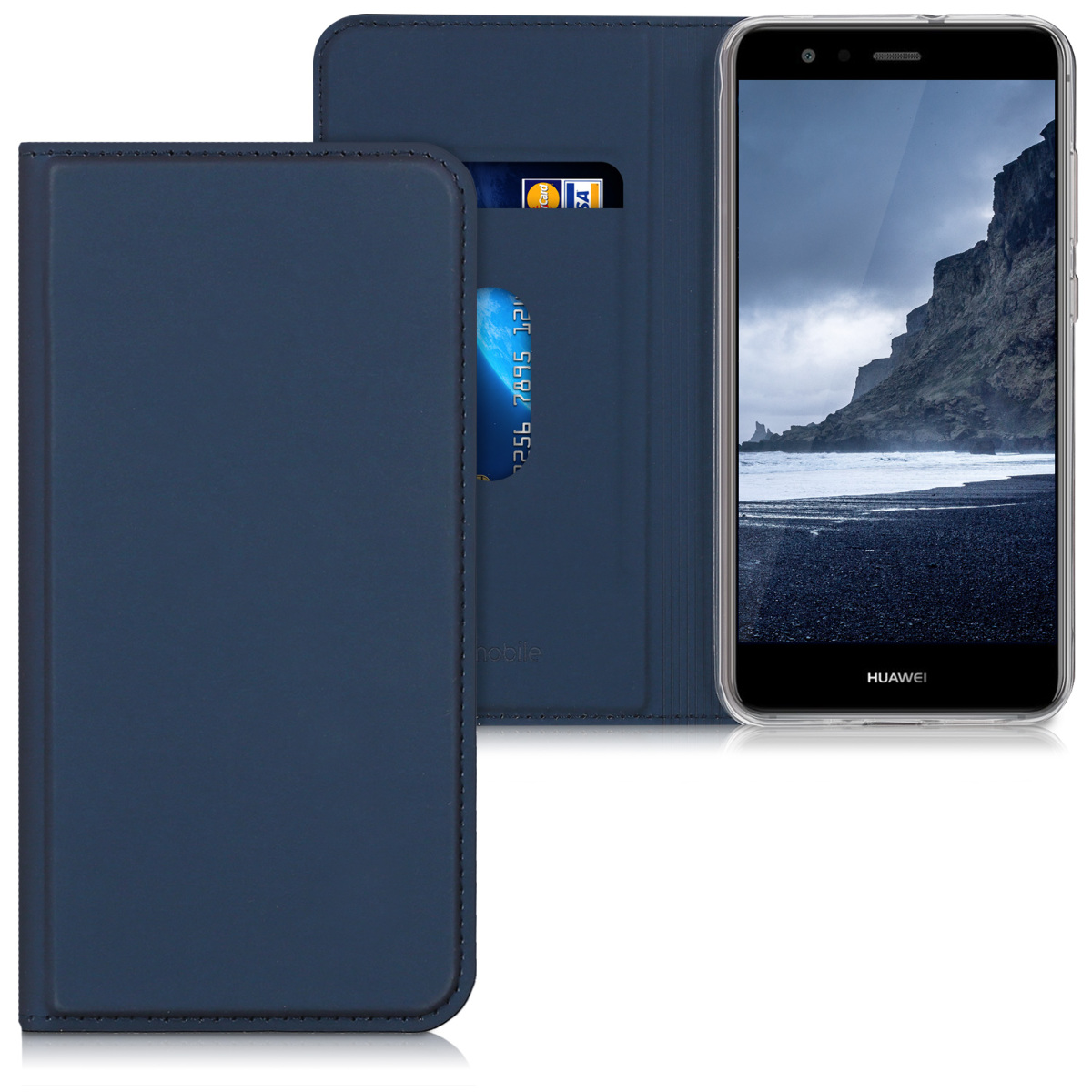 kwmobile Case for Huawei P10 Lite - Book Style Flip Folio Slim Wallet Cover with Stand Feature - Dark Blue