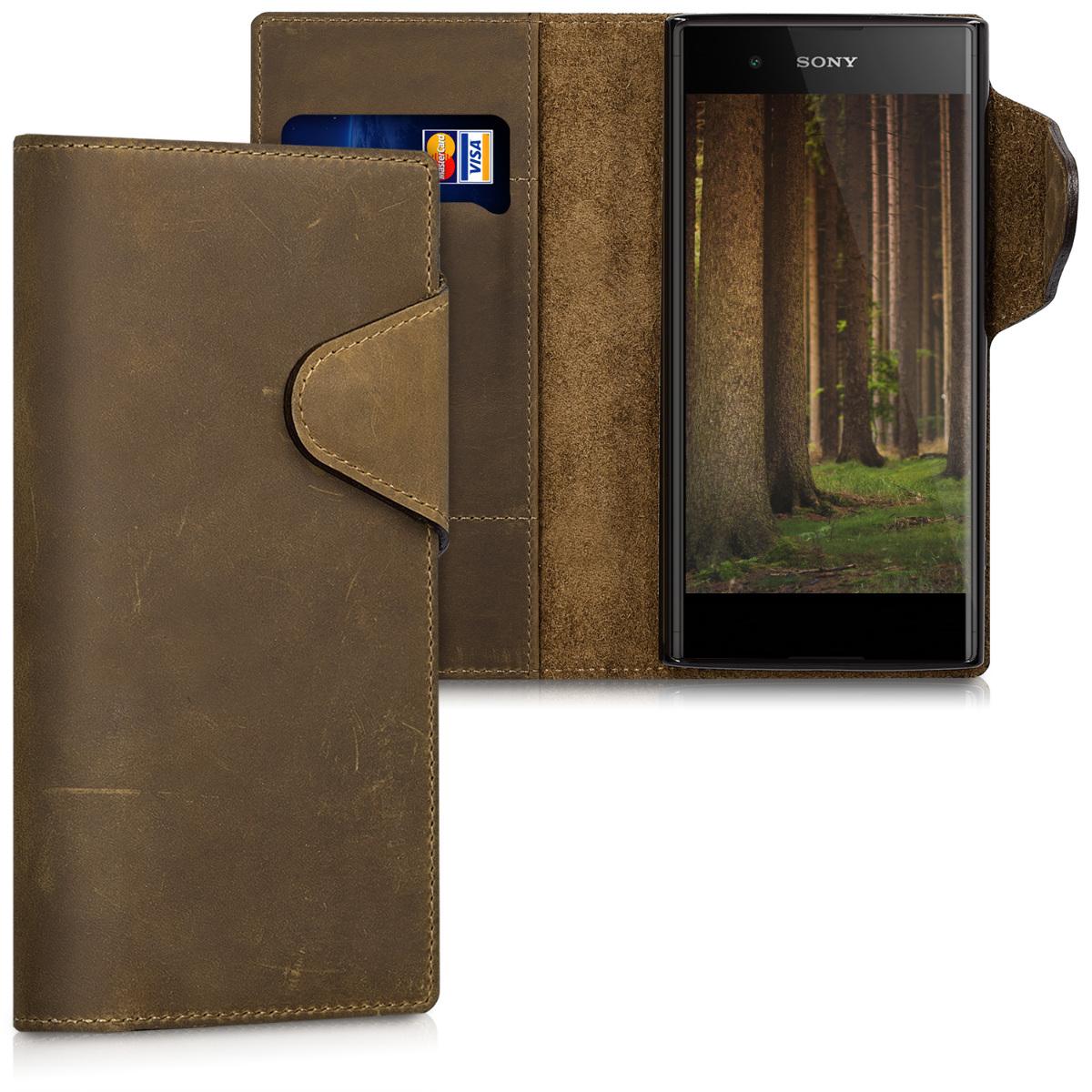 Kalibri Δερμάτινη Suede Θήκη - Πορτοφόλι Sony Xperia XA1 Plus - Brown (43143.05)