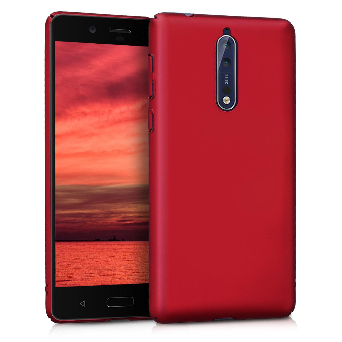 KW Slim Anti-Slip Cover - Σκληρή Θήκη Καουτσούκ Nokia 8 - Dark Red (43239.20)