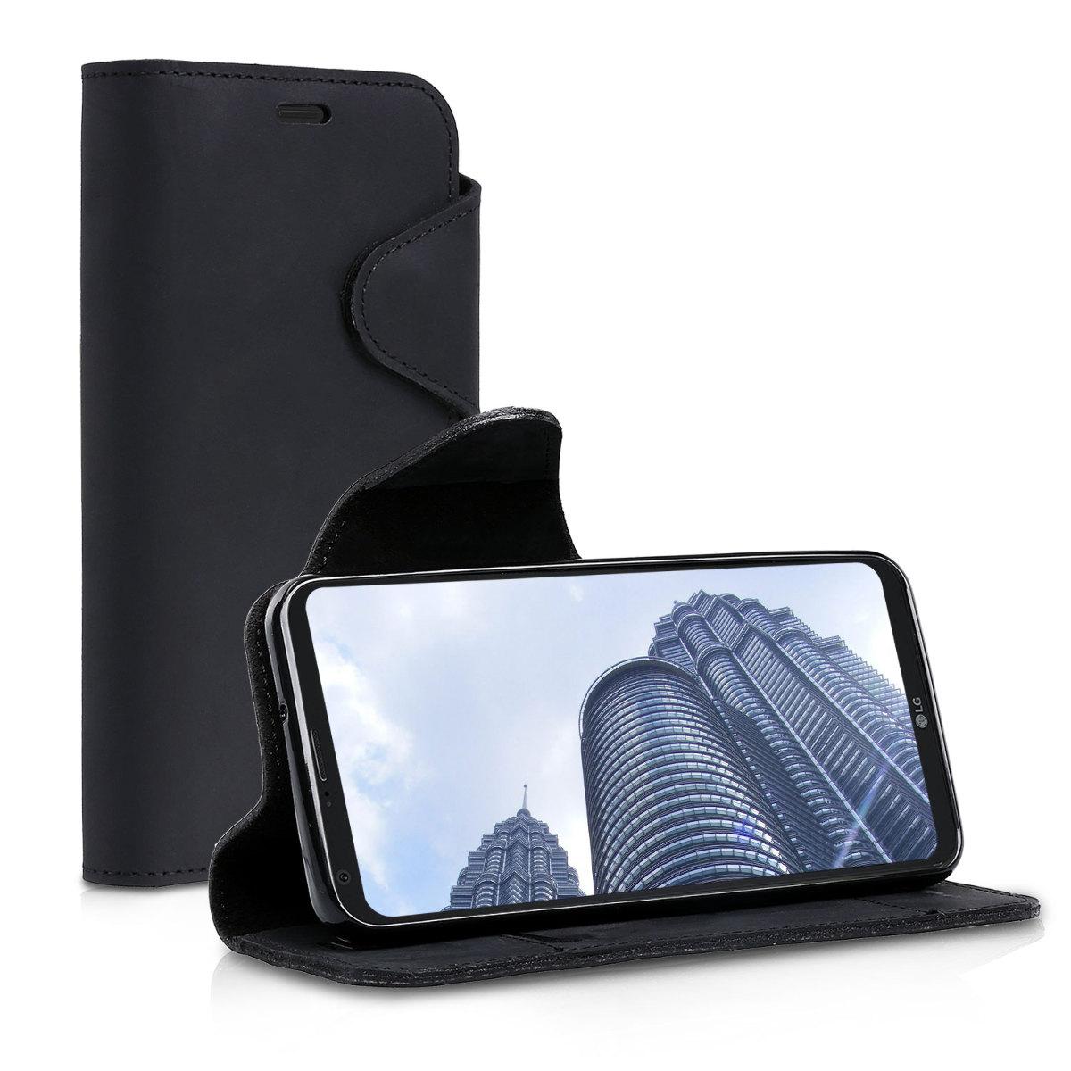 Kalibri Δερμάτινη Suede Θήκη - Πορτοφόλι LG Q6 / Q6+ - Black (43332.01)