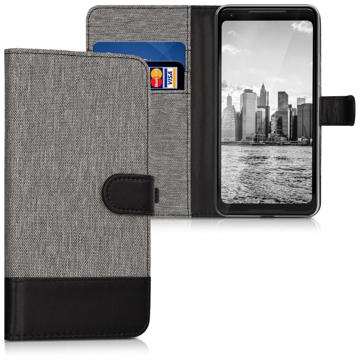KW Θήκη Πορτοφόλι Google Pixel 2 XL - Grey / Black (43355.22)