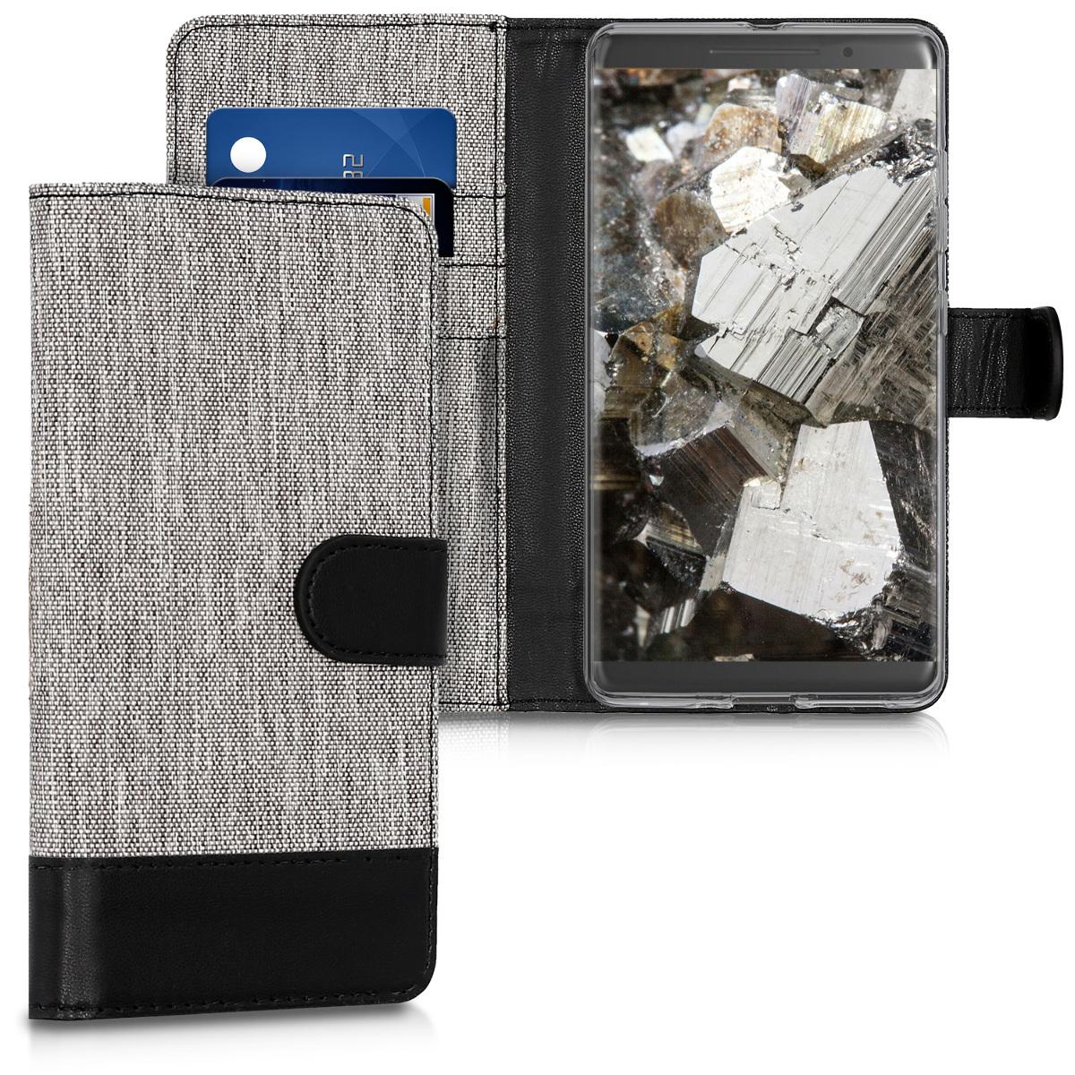 KW Θήκη Πορτοφόλι Nokia 8 Sirocco - Συνθετικό δέρμα - Grey / Black (43373.01)