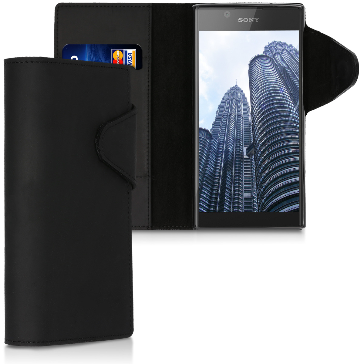 Kalibri Δερμάτινη Suede Θήκη - Πορτοφόλι Sony Xperia L1 - Black (43449.01)