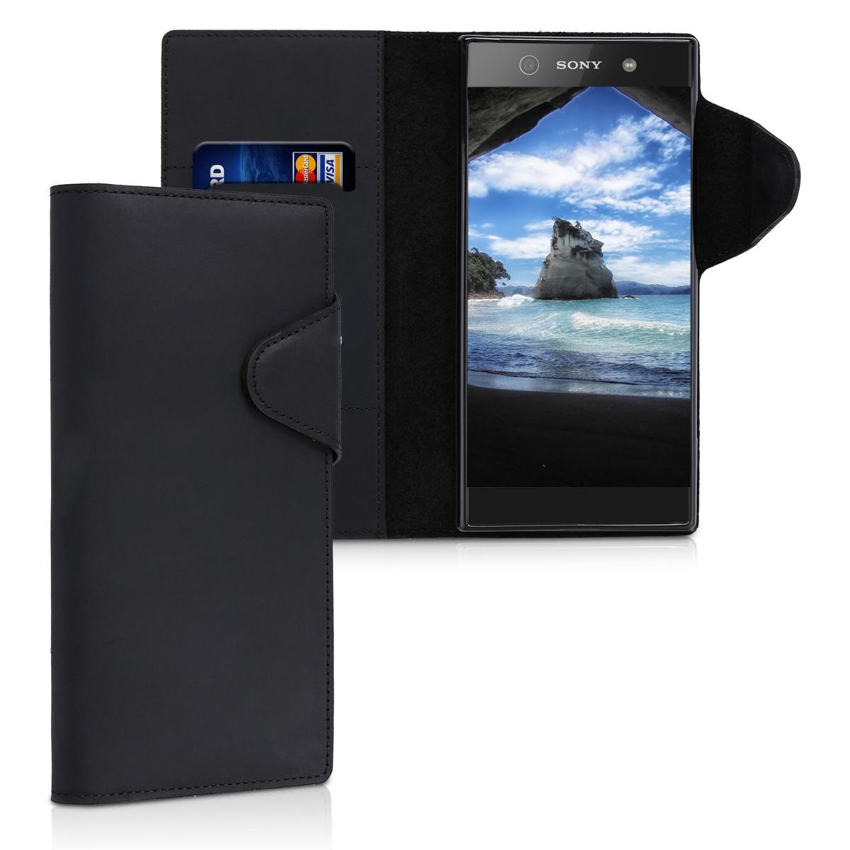 Kalibri Δερμάτινη Suede Θήκη - Πορτοφόλι Sony Xperia XA1 Ultra - Black (43450.01)