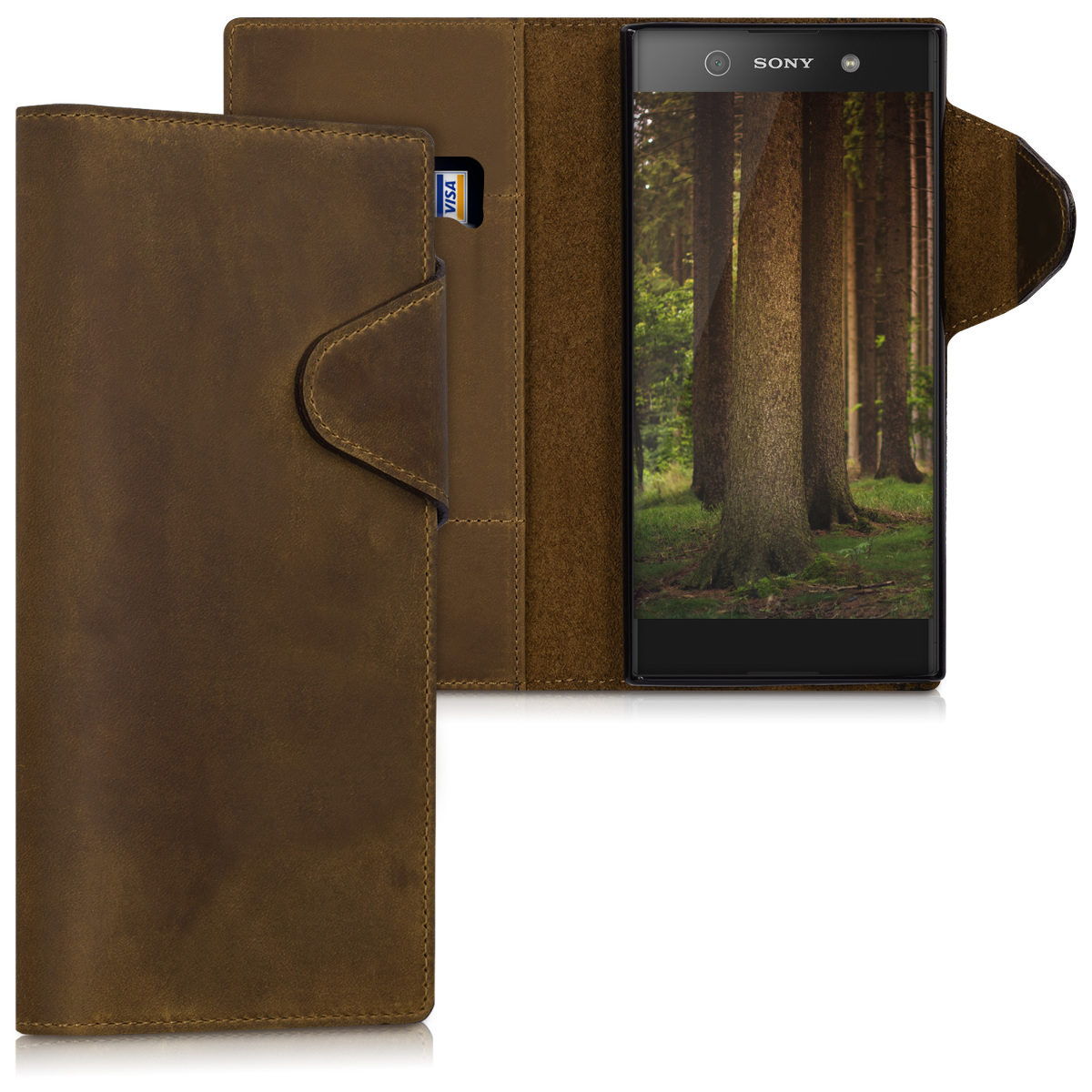Kalibri Δερμάτινη Suede Θήκη - Πορτοφόλι Sony Xperia XA1 Ultra - Brown (43450.05)