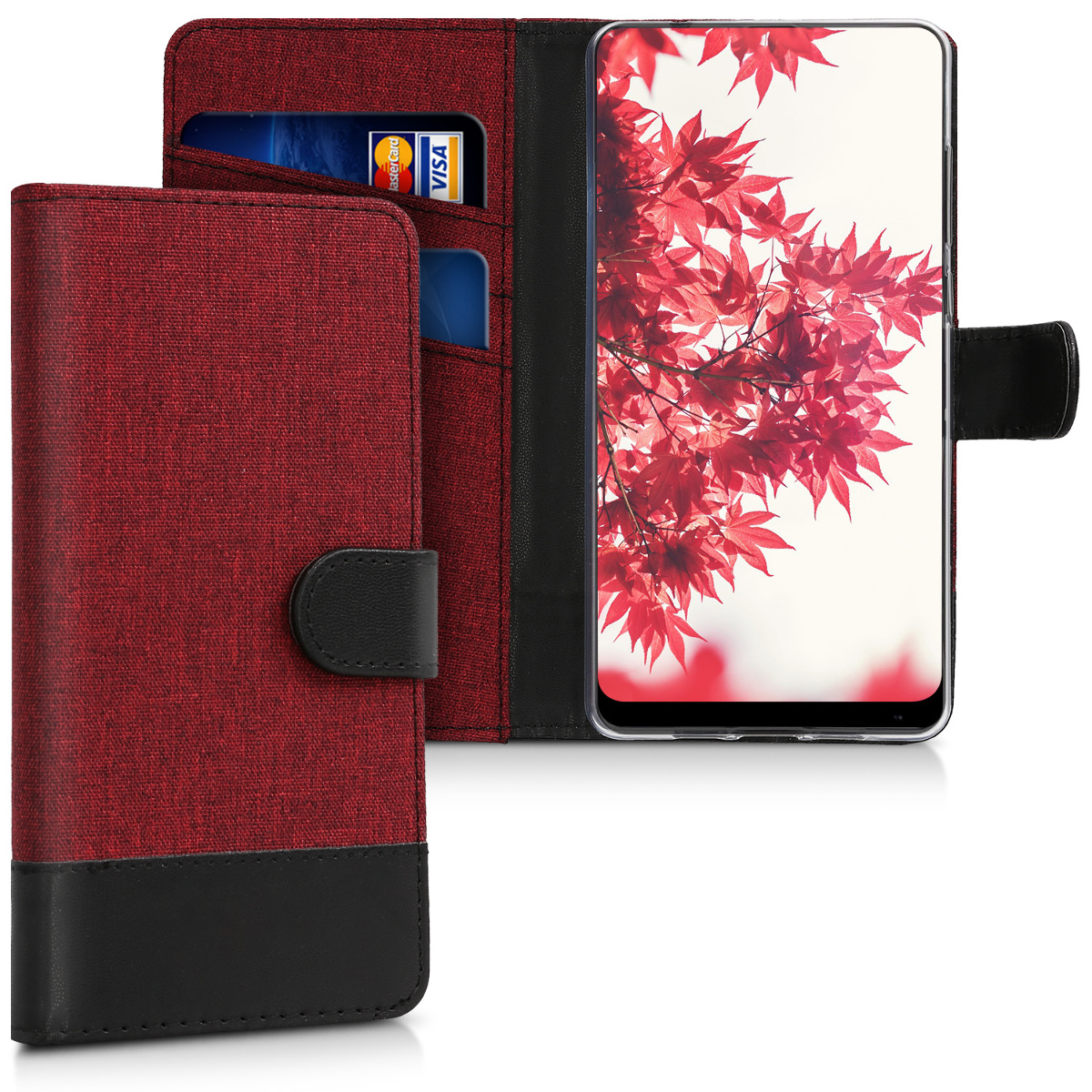 KW Θήκη-Πορτοφόλι Xiaomi Mi Mix 2 - Dark Red / Black Canvas (43505.20)