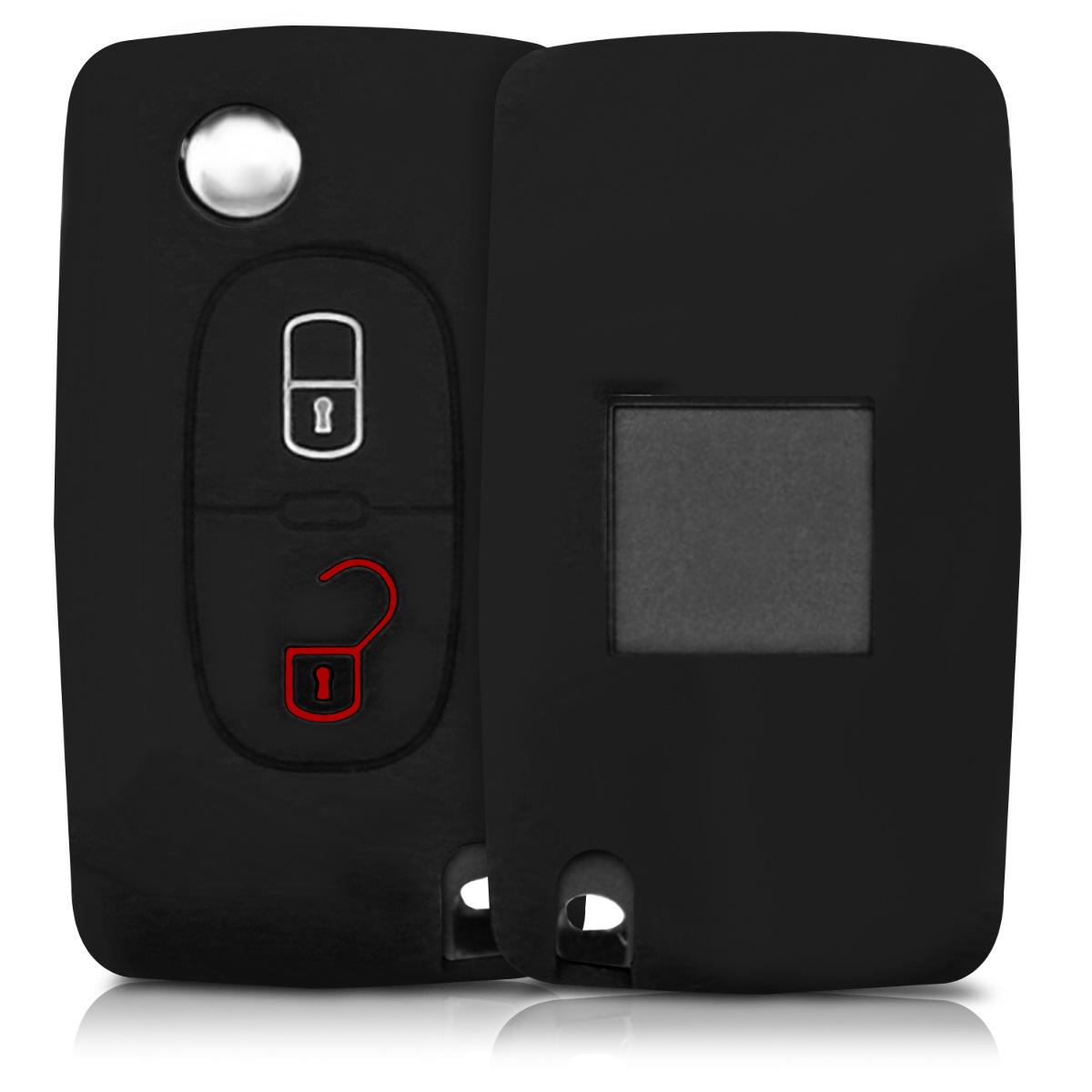 KW Silicone Θήκη Κλειδιού Peugeot Citroen - 2 Κουμπιά - Black (43668.01)