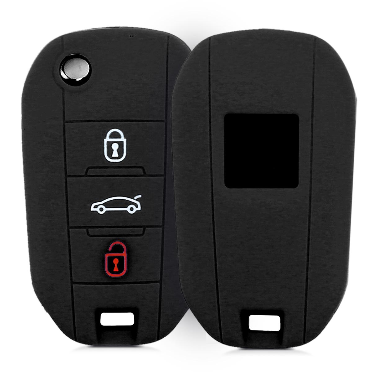 KW Θήκη Κλειδιού Peugeot / Citroen - Σιλικόνη - 3 Κουμπιά - Black (43670.01)