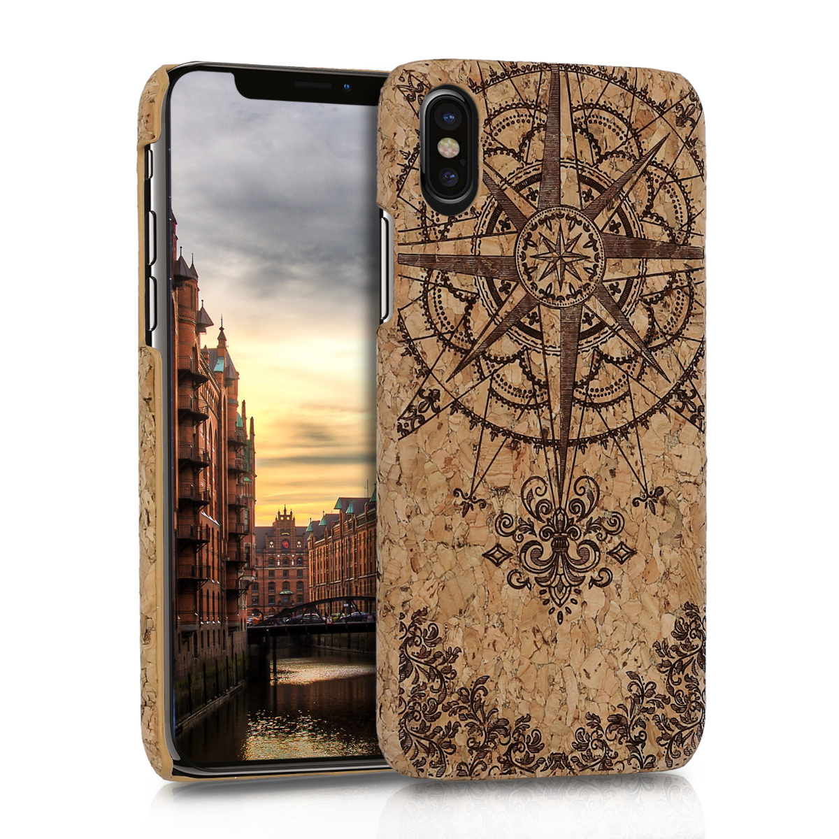 kwmobile Apple iPhone X Case - Protective Cork Cover for Apple iPhone X - Dark Brown / Light Brown
