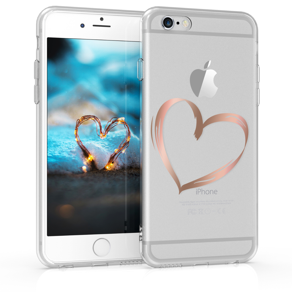 KW Θήκη Σιλικόνης Apple iPhone 6 Plus / 6S Plus - Rose Gold / Transparent (43701.10)
