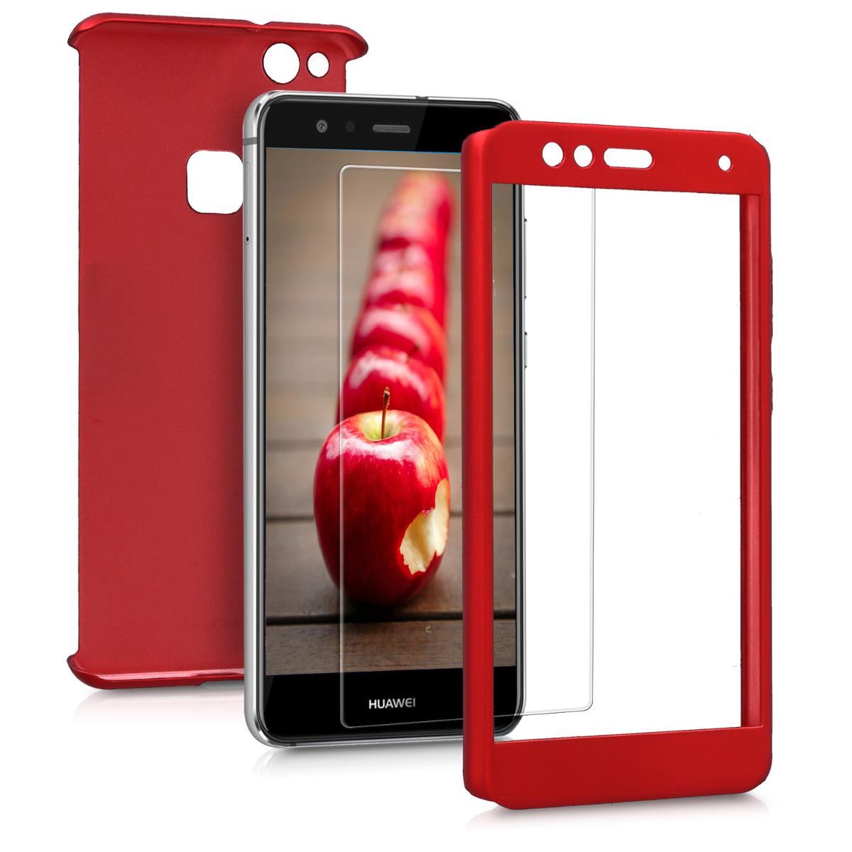 KW Full Body Θήκη Huawei P10 Lite & Tempered Glass - Κόκκινο/ Μεταλλικό  (43763.36)