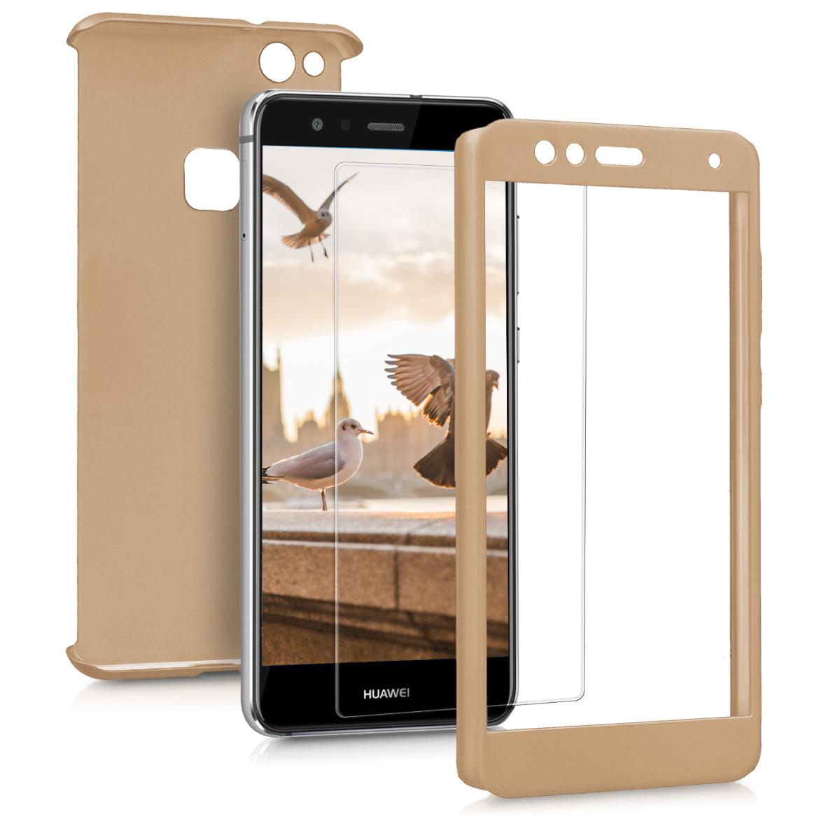 KW Θήκη Full Body Huawei P10 Lite & Tempered Glass - Μεταλλικό χρυσό (43763.66)
