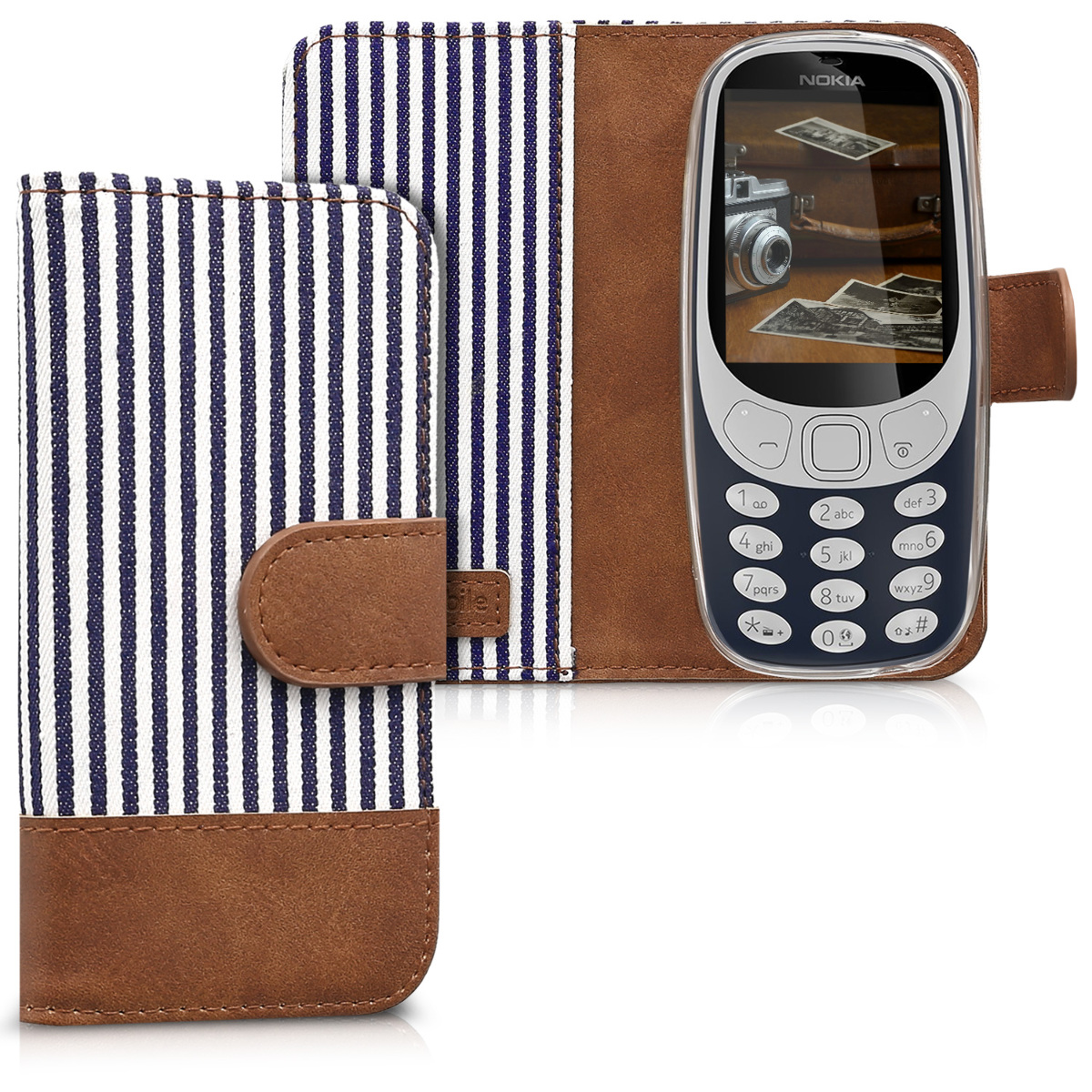KW Θήκη Πορτοφόλι  Nokia 3310 (2017) - Blue / White (43775.01)