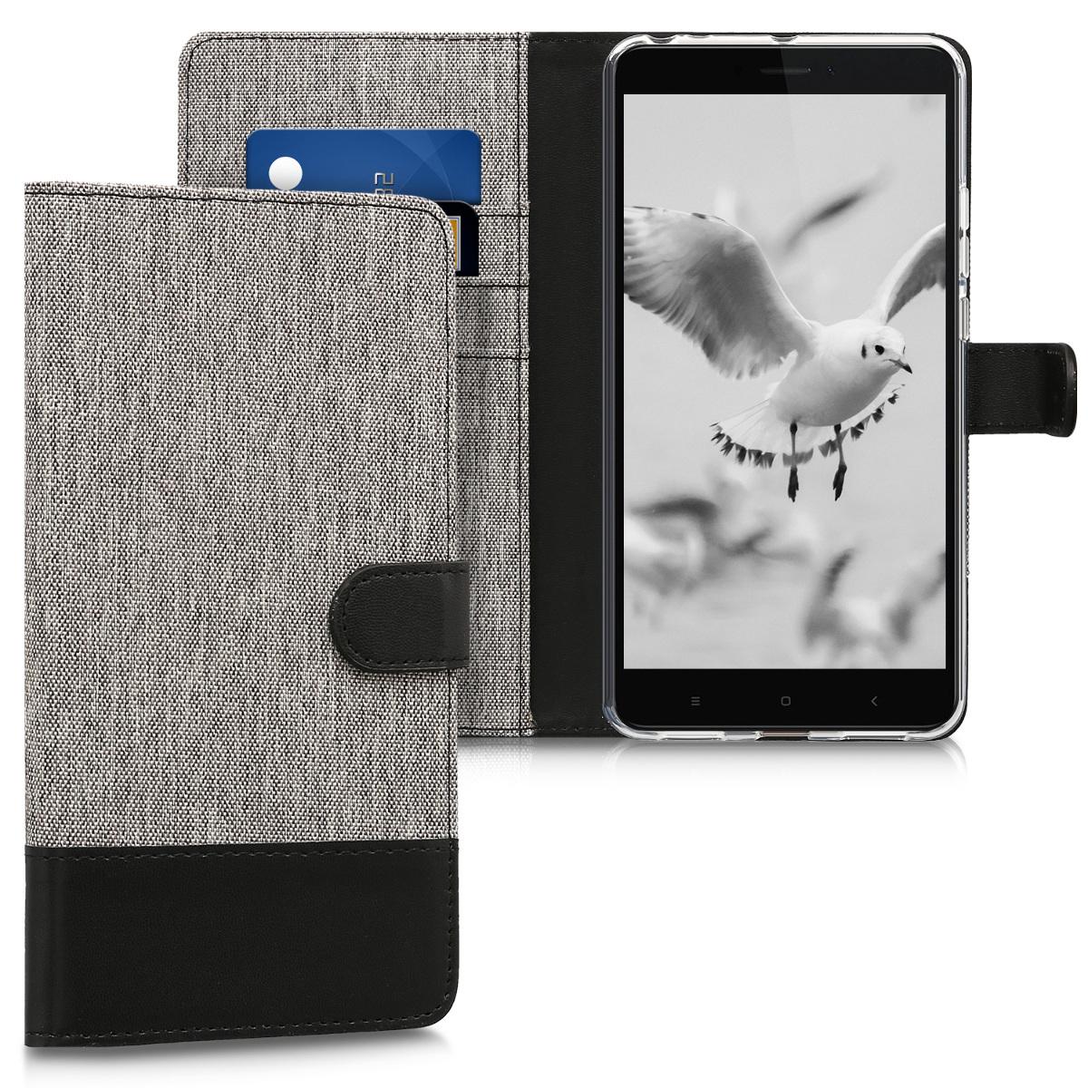 KW Θήκη Πορτοφόλι Xiaomi Mi Max 2 - Grey / Black (43839.22)